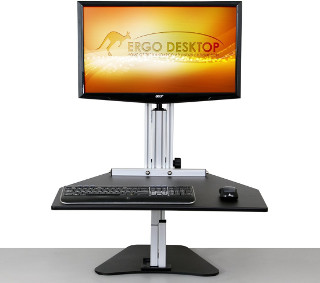 Post & Keyboard Tray Standing Desk Converter Example
