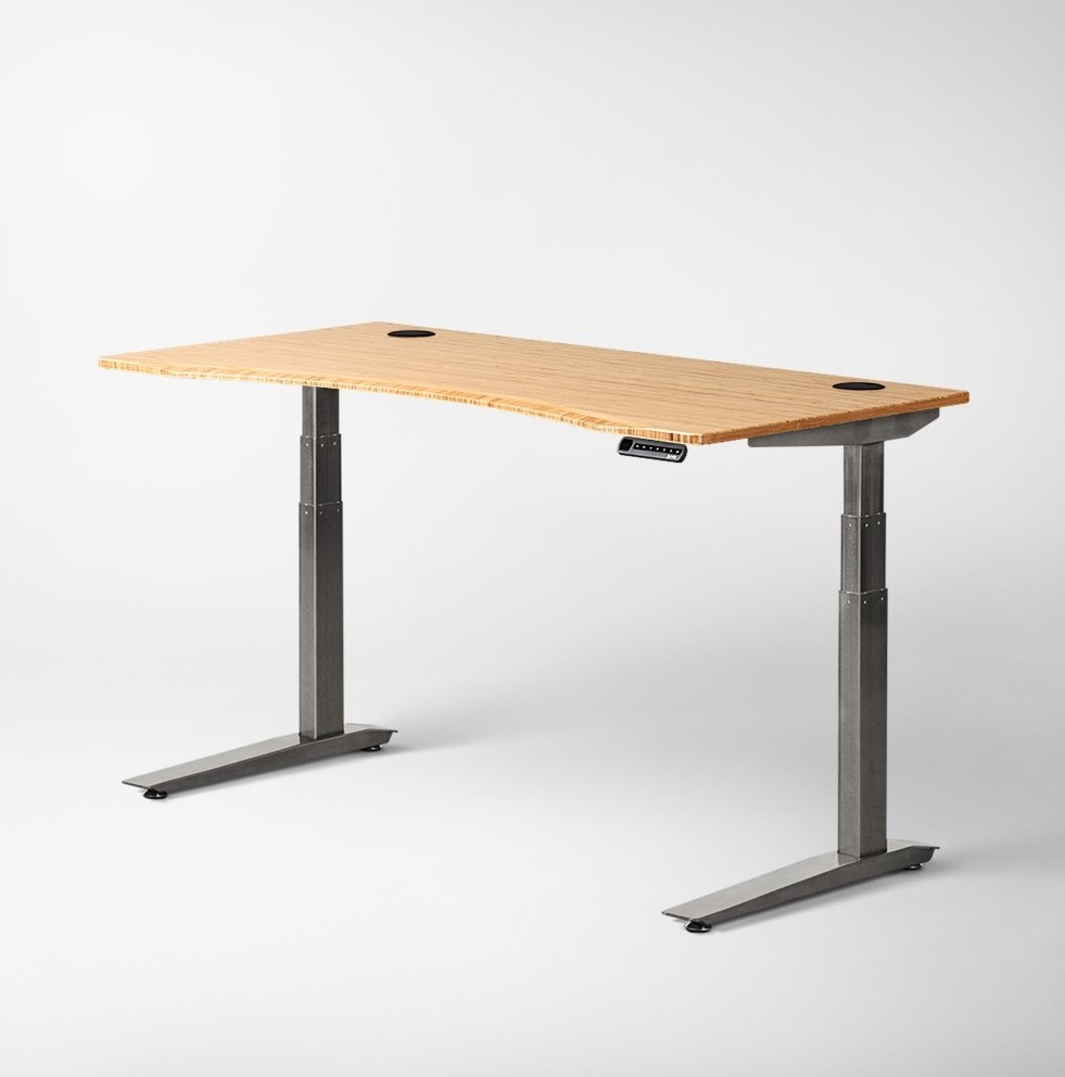 Fully Jarvis Standing Desk - Bamboo Contoured Top with Alloy Frame