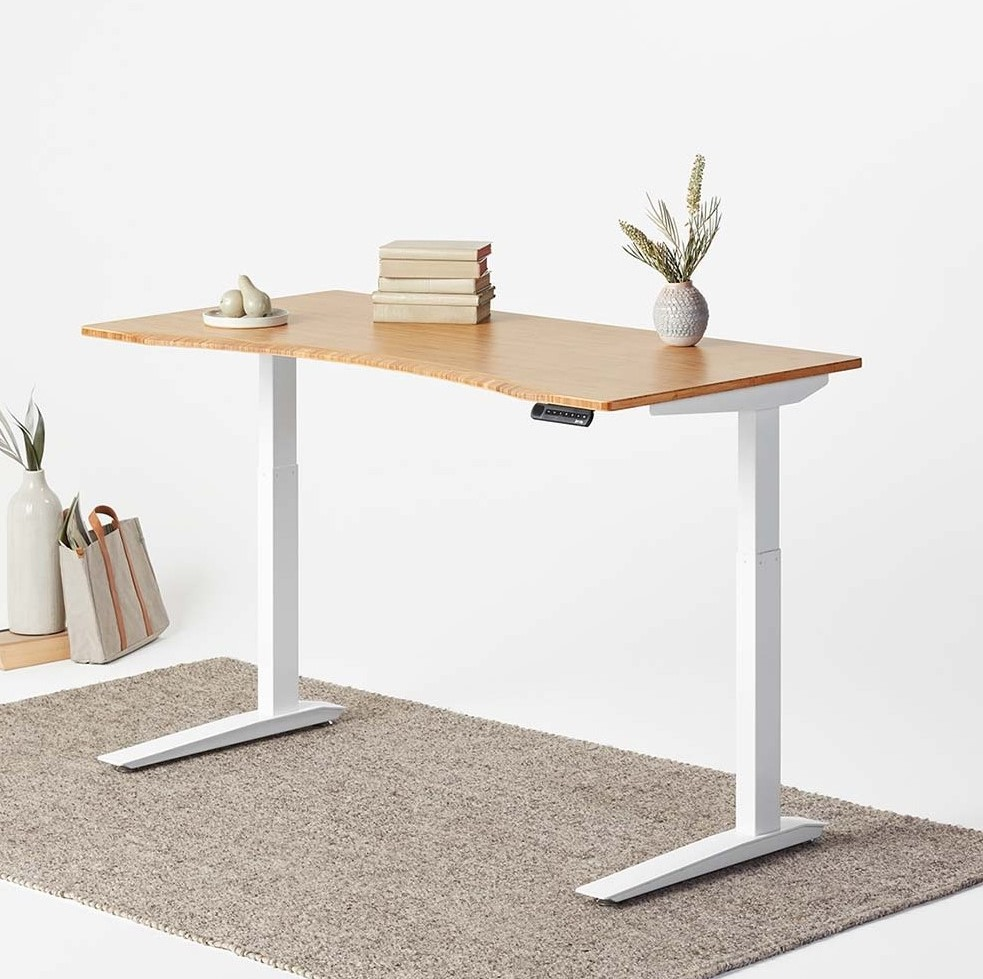 Fully Jarvis Standing Desk - Bamboo Contoured Top with White Frame